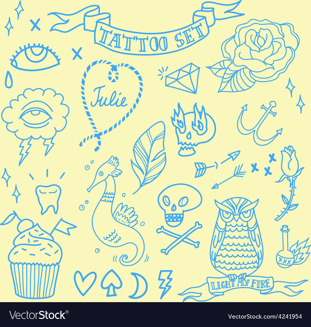 Tatoo set 1 vector | Price: 1 Credit (USD $1)