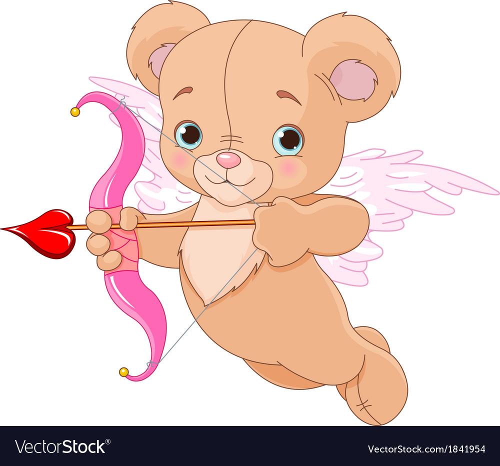Valentine cupid bear vector | Price: 1 Credit (USD $1)