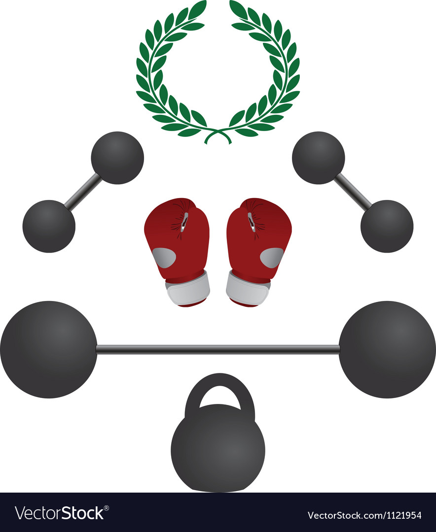 Weights and boxer gloves fourth variant vector | Price: 1 Credit (USD $1)