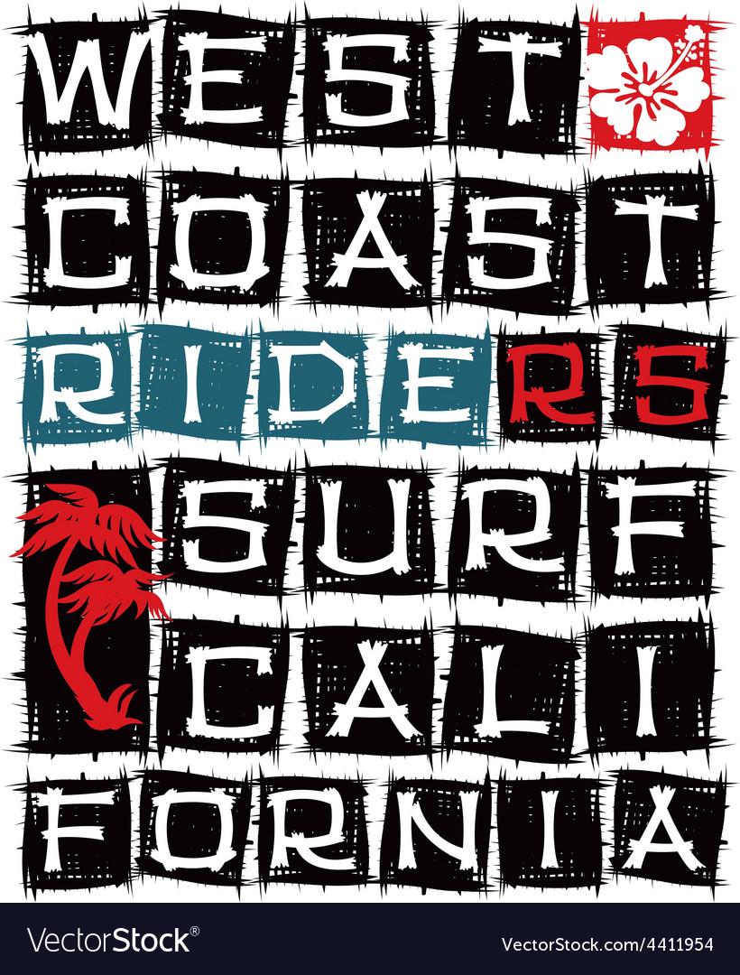 West coast surf riders vector | Price: 1 Credit (USD $1)