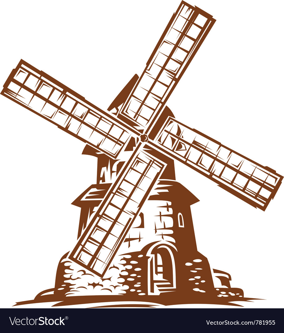Ancient wind mill vector | Price: 1 Credit (USD $1)