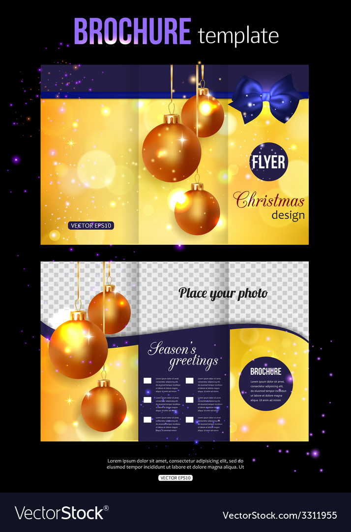 Christmas trifold brochure template abstract flyer vector | Price: 1 Credit (USD $1)