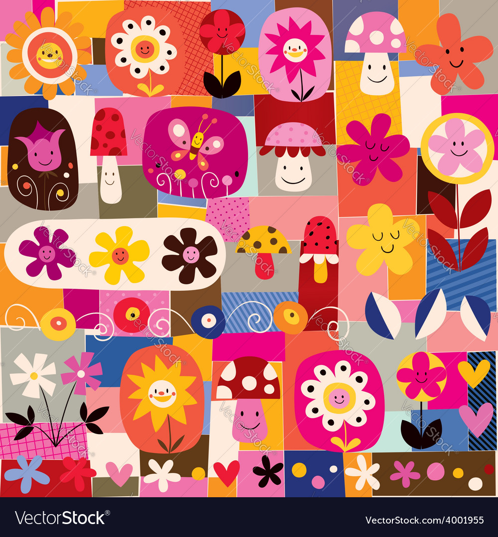 Cute flowers and mushrooms nature pattern vector | Price: 1 Credit (USD $1)