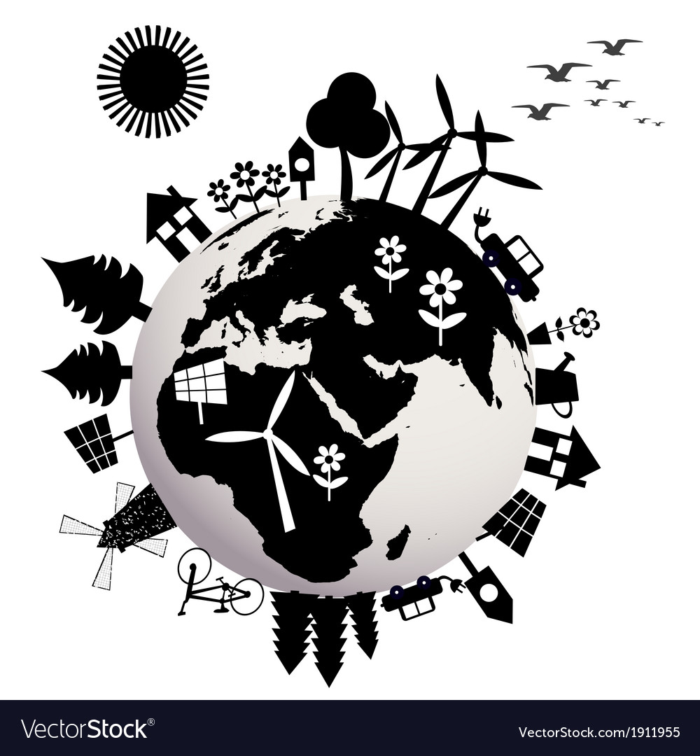 Ecological concept with earth globe vector | Price: 1 Credit (USD $1)