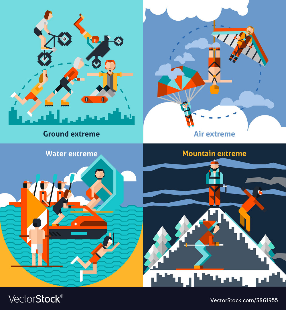 Extreme sports set vector | Price: 1 Credit (USD $1)