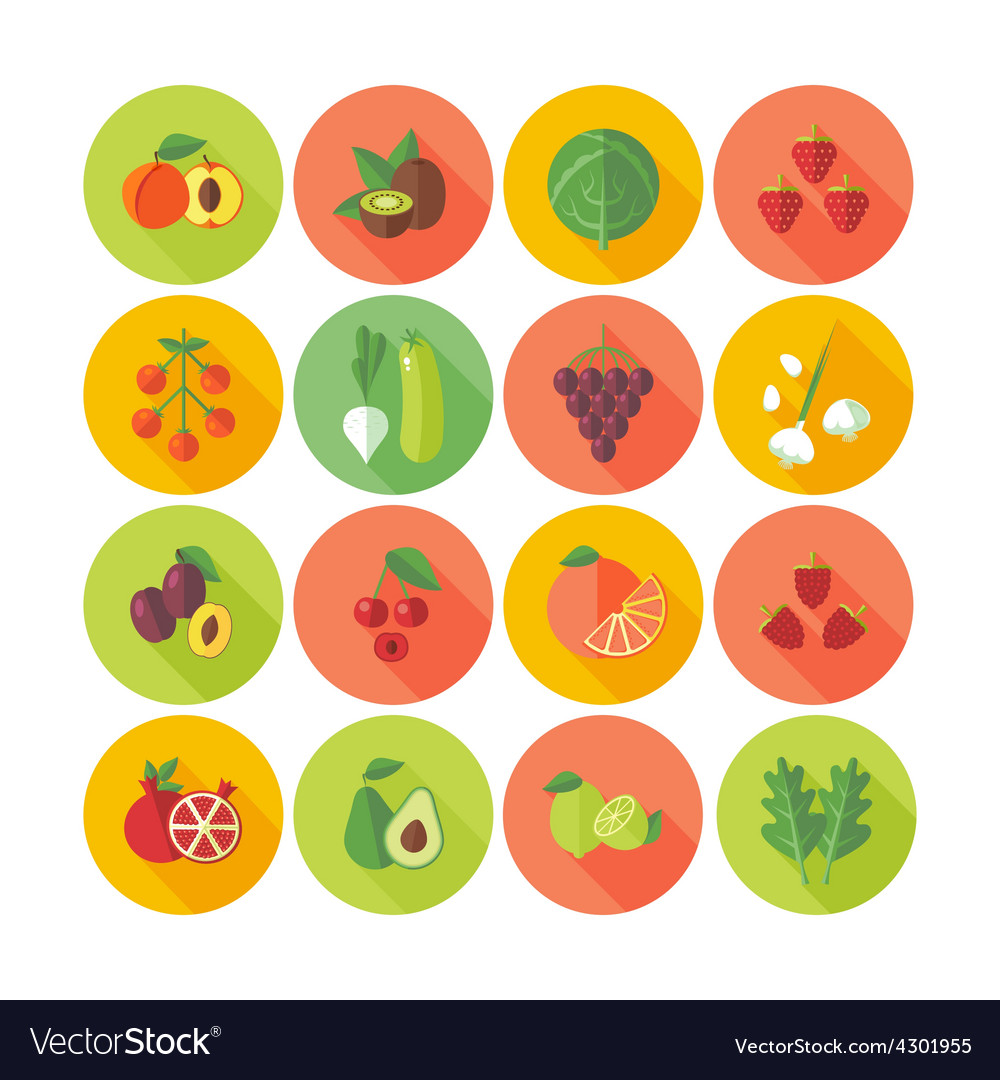 Flat design icons for fruits and vegetables vector | Price: 1 Credit (USD $1)