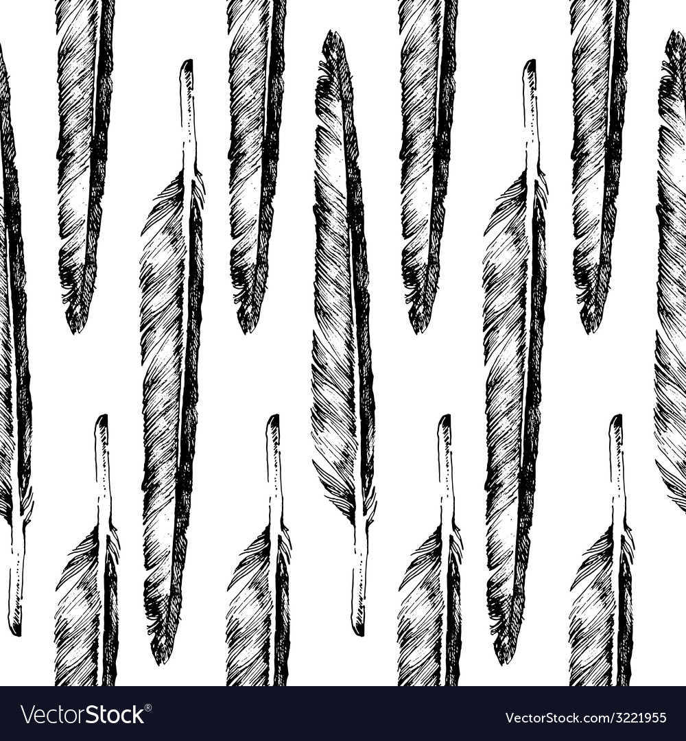 Hand drawn feather seamless vector | Price: 1 Credit (USD $1)