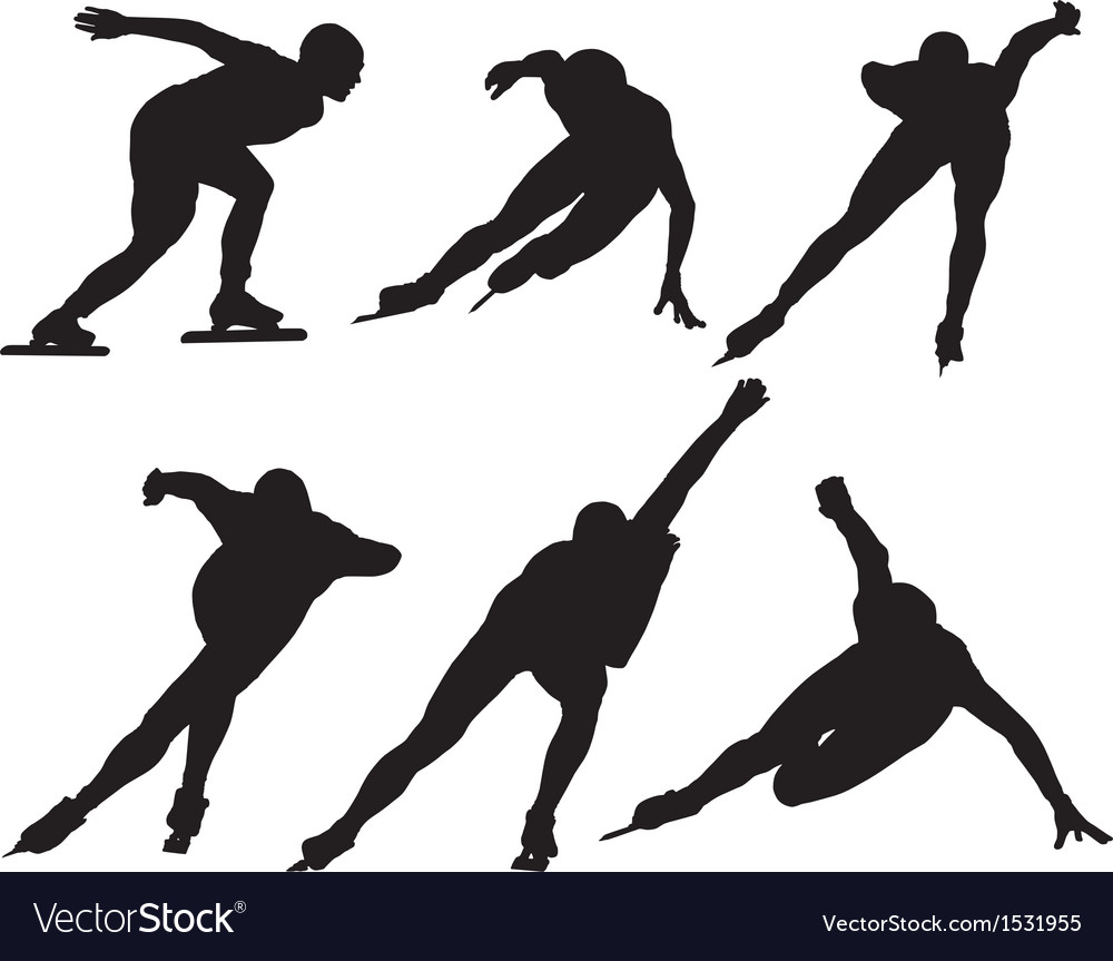 Ice speed skating silhouette vector | Price: 1 Credit (USD $1)