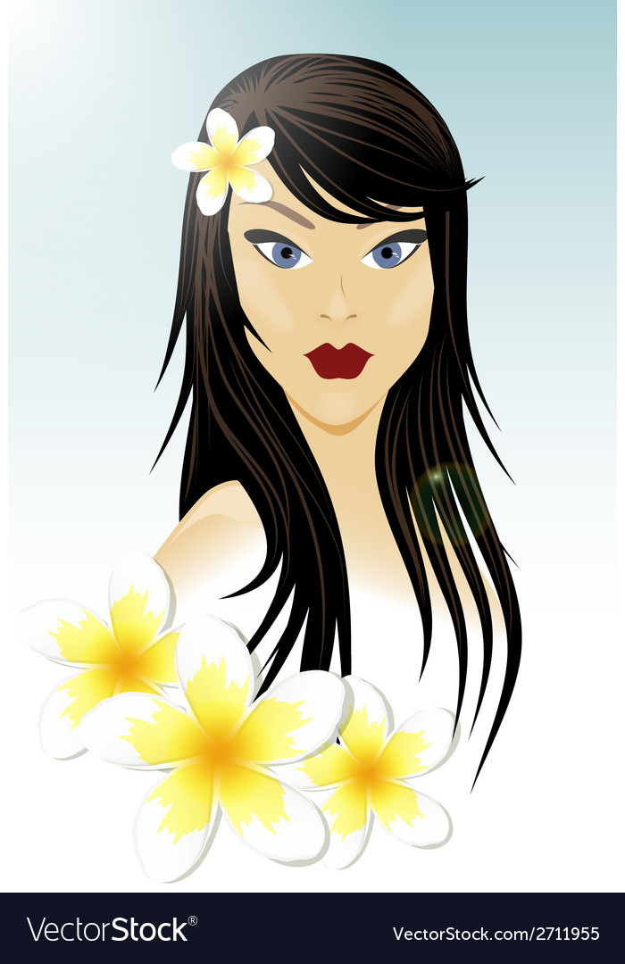 Oriental girl and white flowers vector | Price: 1 Credit (USD $1)