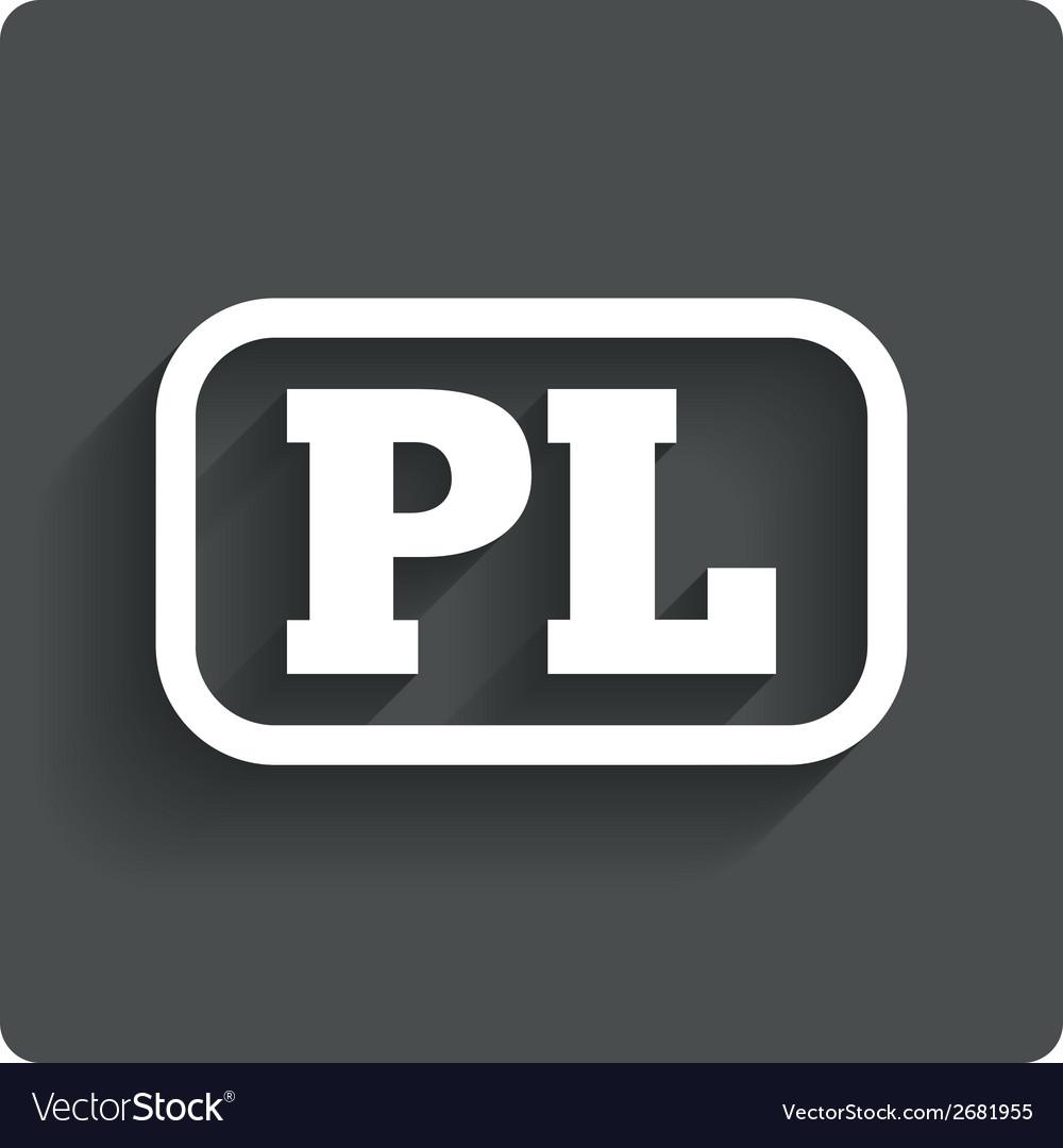 Polish language sign icon pl translation vector | Price: 1 Credit (USD $1)