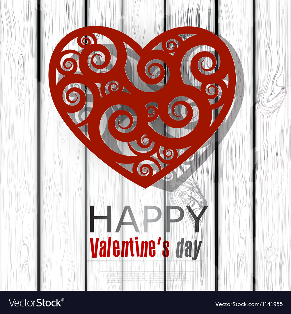 Red handmade heart on wooden background valentines vector | Price: 1 Credit (USD $1)