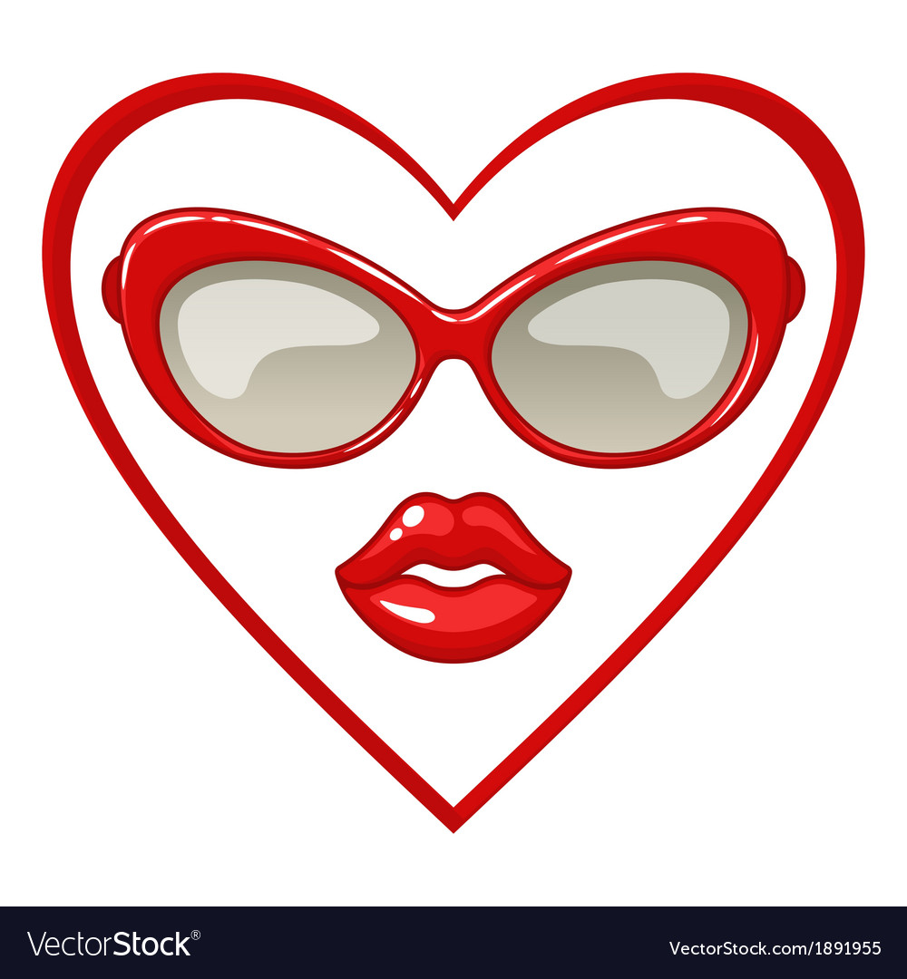 Red sunglasses and lips vector | Price: 1 Credit (USD $1)