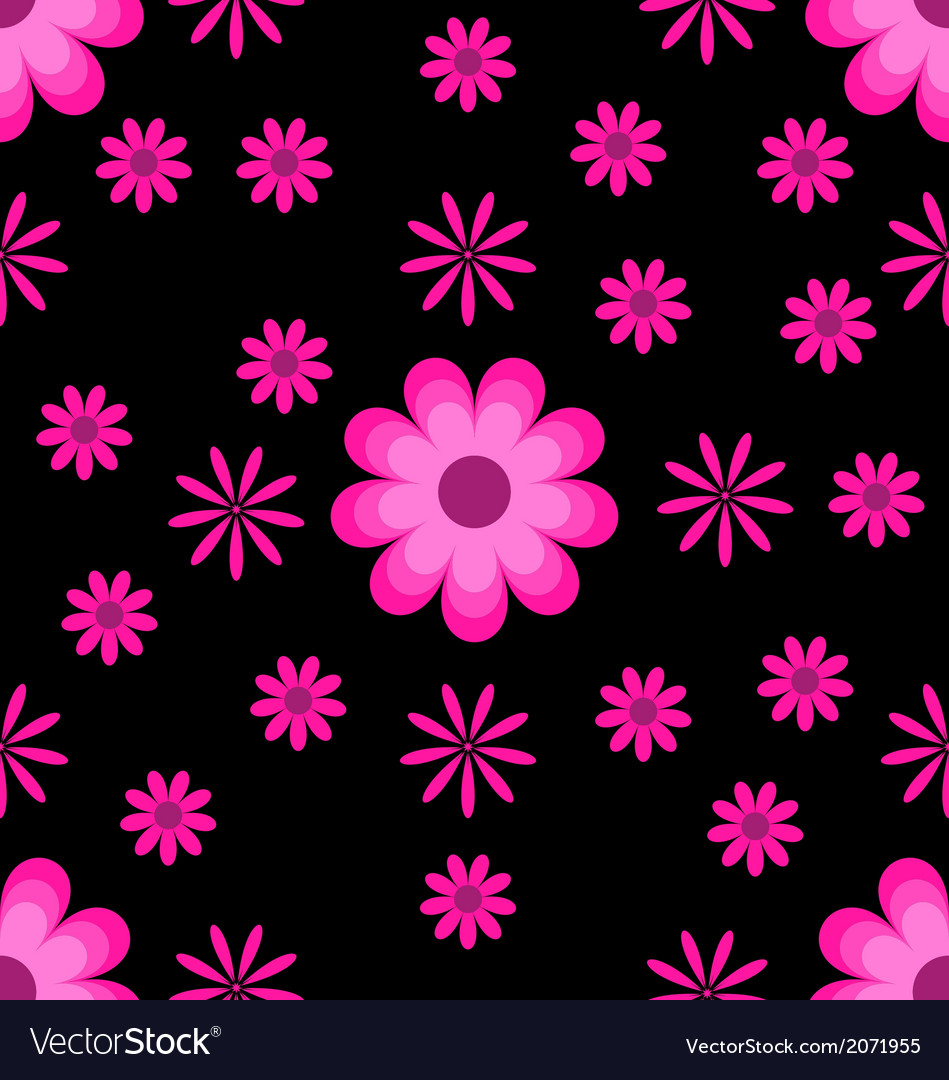 Seamless pattern pink flowers on black background vector | Price: 1 Credit (USD $1)