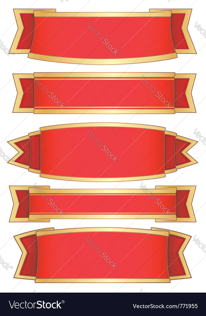 Set of 5 red ribbon banners vector   Price: 1 Credit (USD $1)