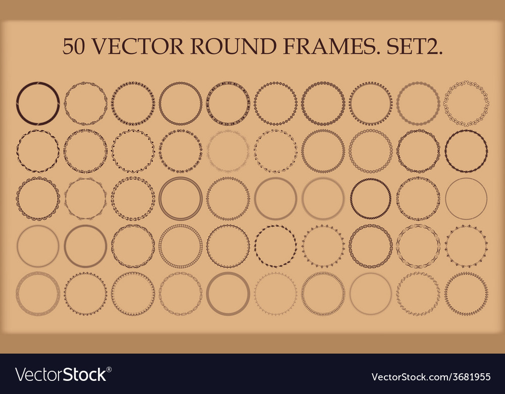 Set of 50 round frames in different styles vector | Price: 1 Credit (USD $1)
