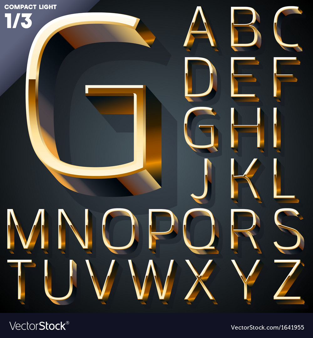 Set of golden 3d alphabet vector   Price: 1 Credit (USD $1)