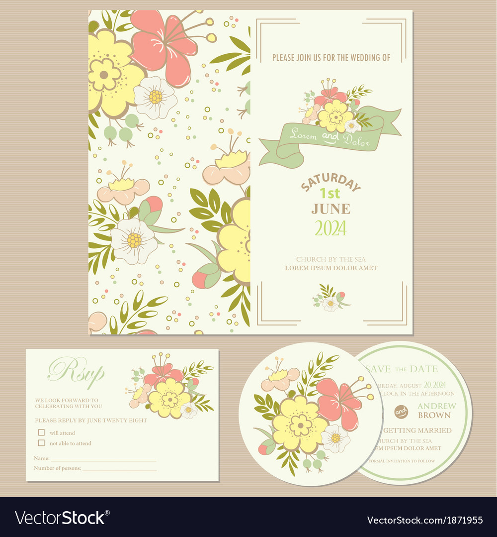 Spring wedding invitation card vector | Price: 1 Credit (USD $1)