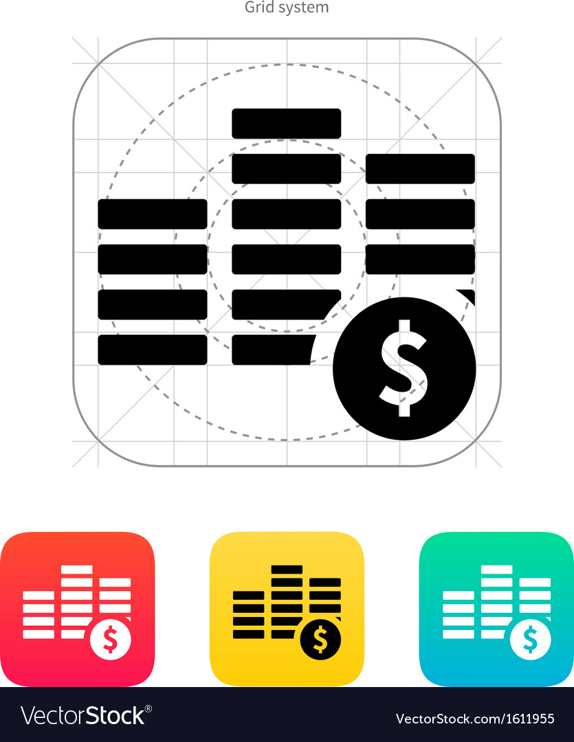 Stack with coins icon vector | Price: 1 Credit (USD $1)