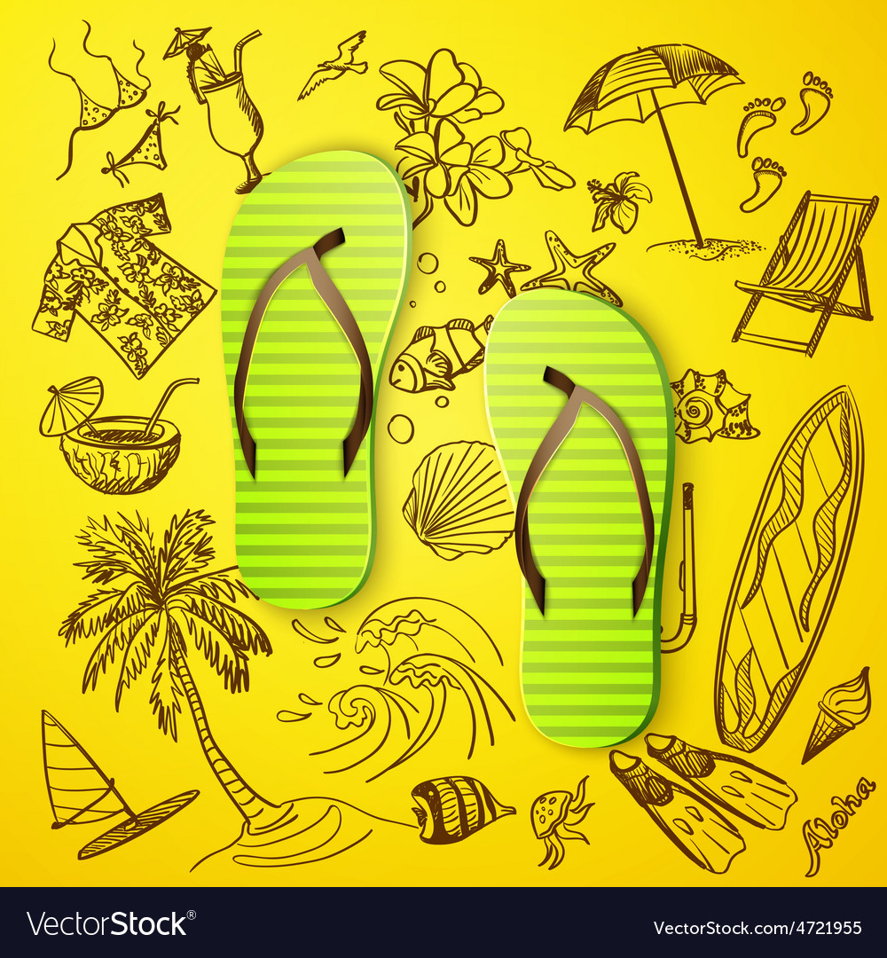 Thongs and hand draw tourist icon vector