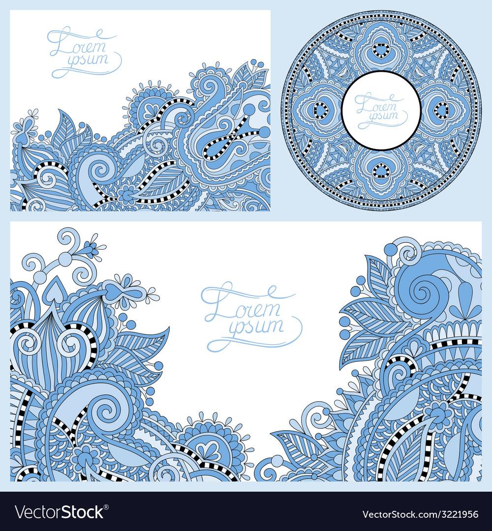 Blue colour set of floral decorative background vector | Price: 1 Credit (USD $1)