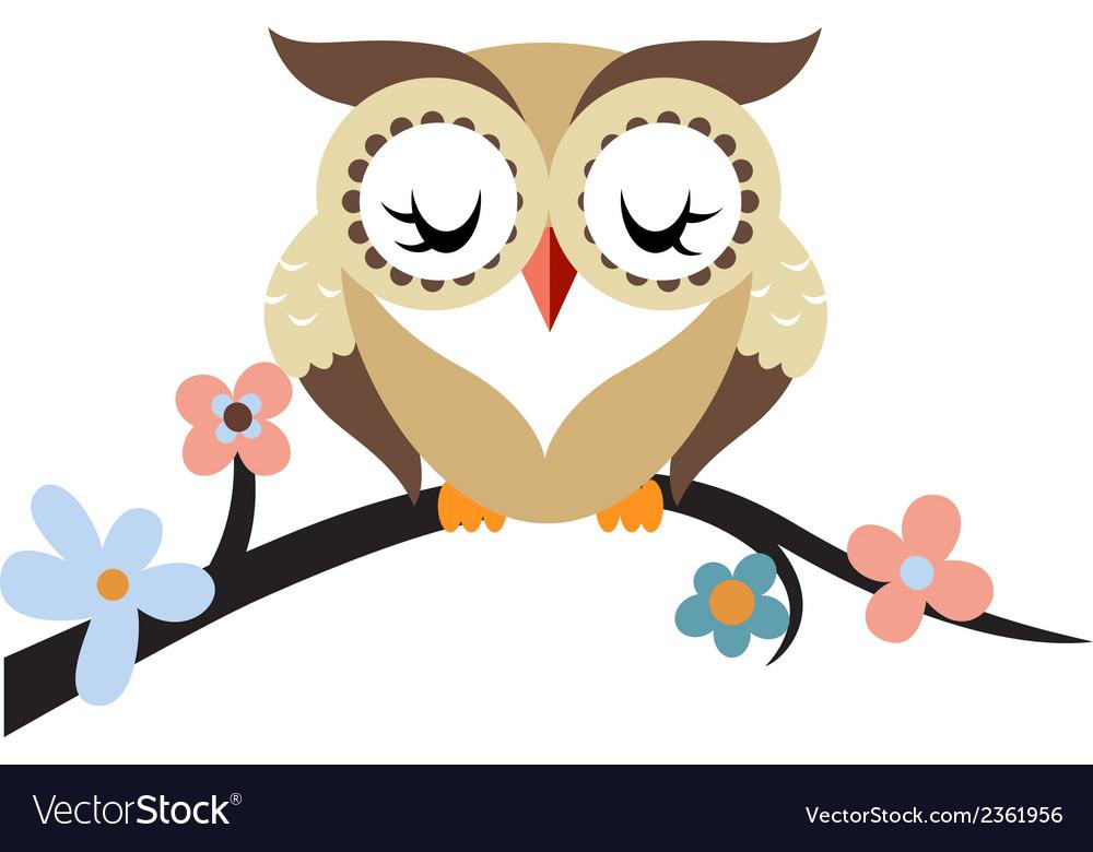Cartoon owl on a flowering tree branch vector | Price: 1 Credit (USD $1)