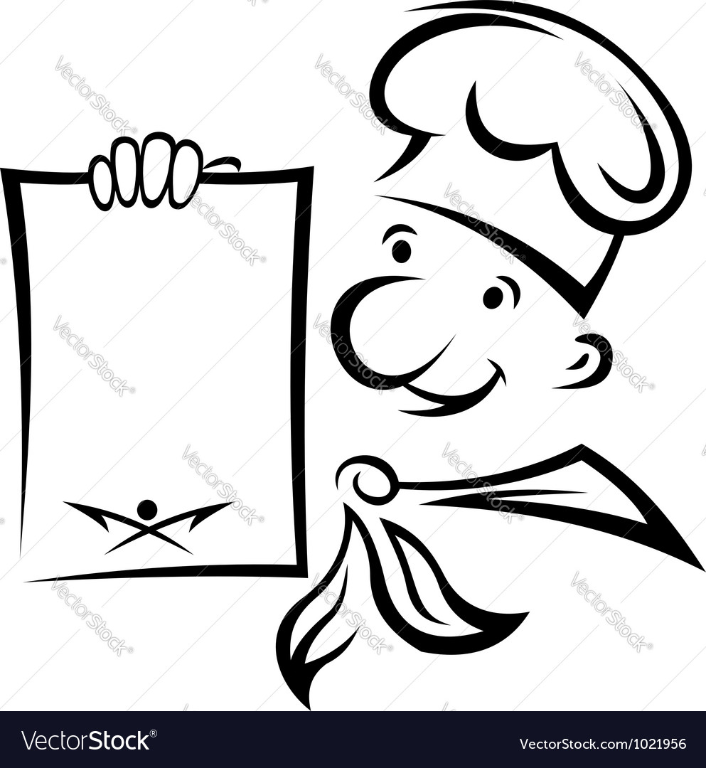 Cheerful chef with menu paper vector | Price: 1 Credit (USD $1)