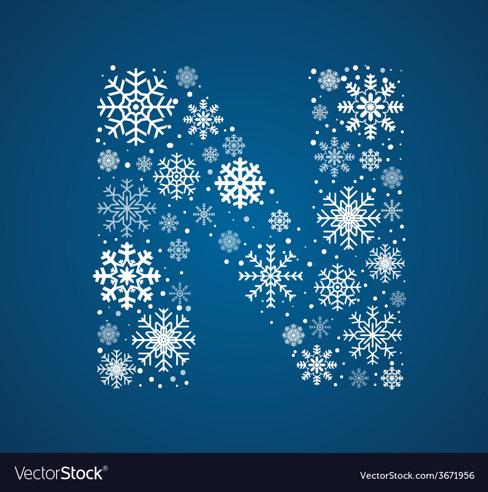 Letter n font frosty snowflakes vector | Price: 1 Credit (USD $1)