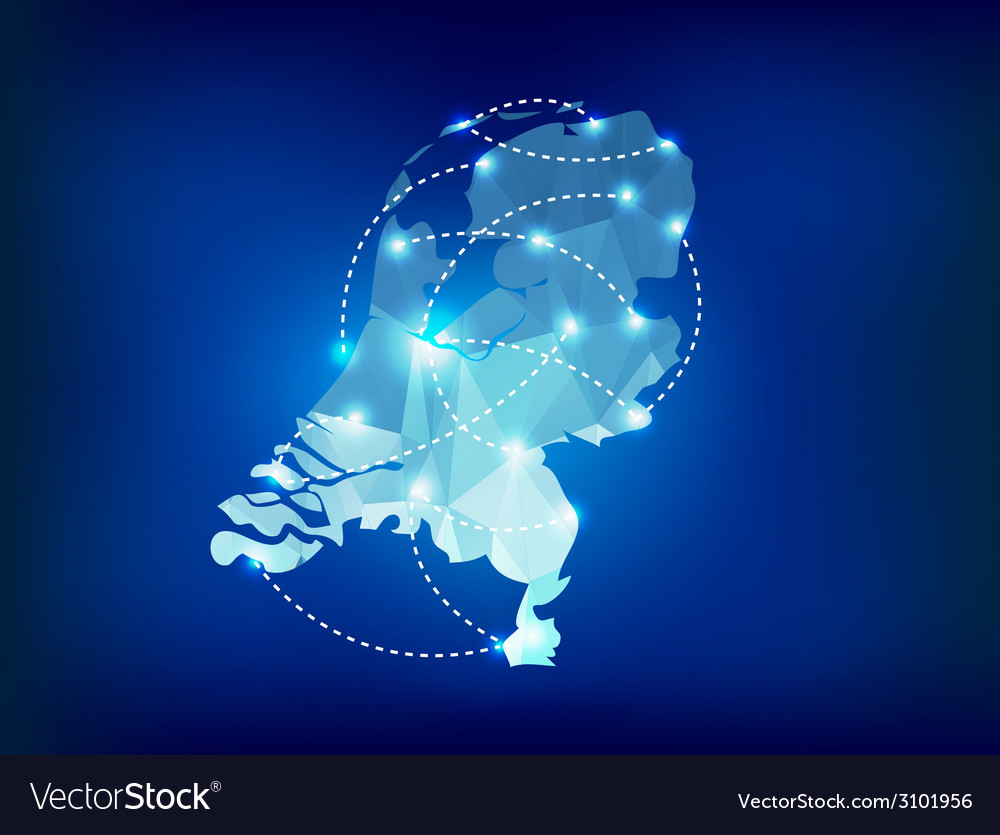 Netherlands country map polygonal with spot lights vector | Price: 1 Credit (USD $1)