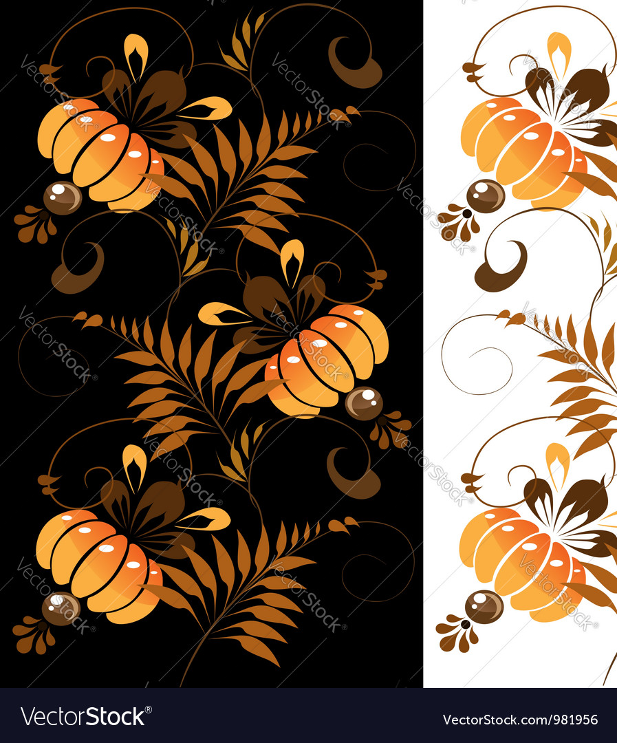 Orange ornament on a black and white background vector | Price: 1 Credit (USD $1)