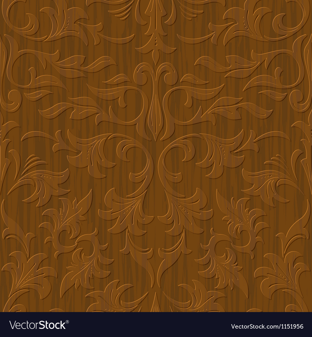 Seamless abstract wood carved floral ornament vector | Price: 1 Credit (USD $1)