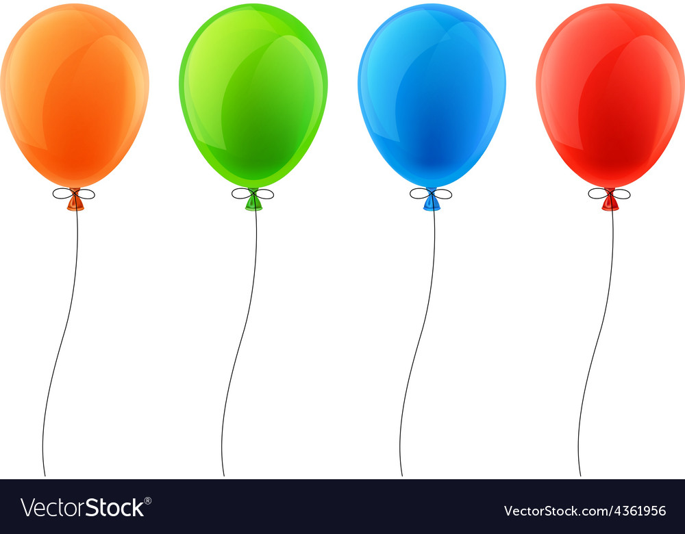 Set of realistic celebration balloons vector | Price: 1 Credit (USD $1)