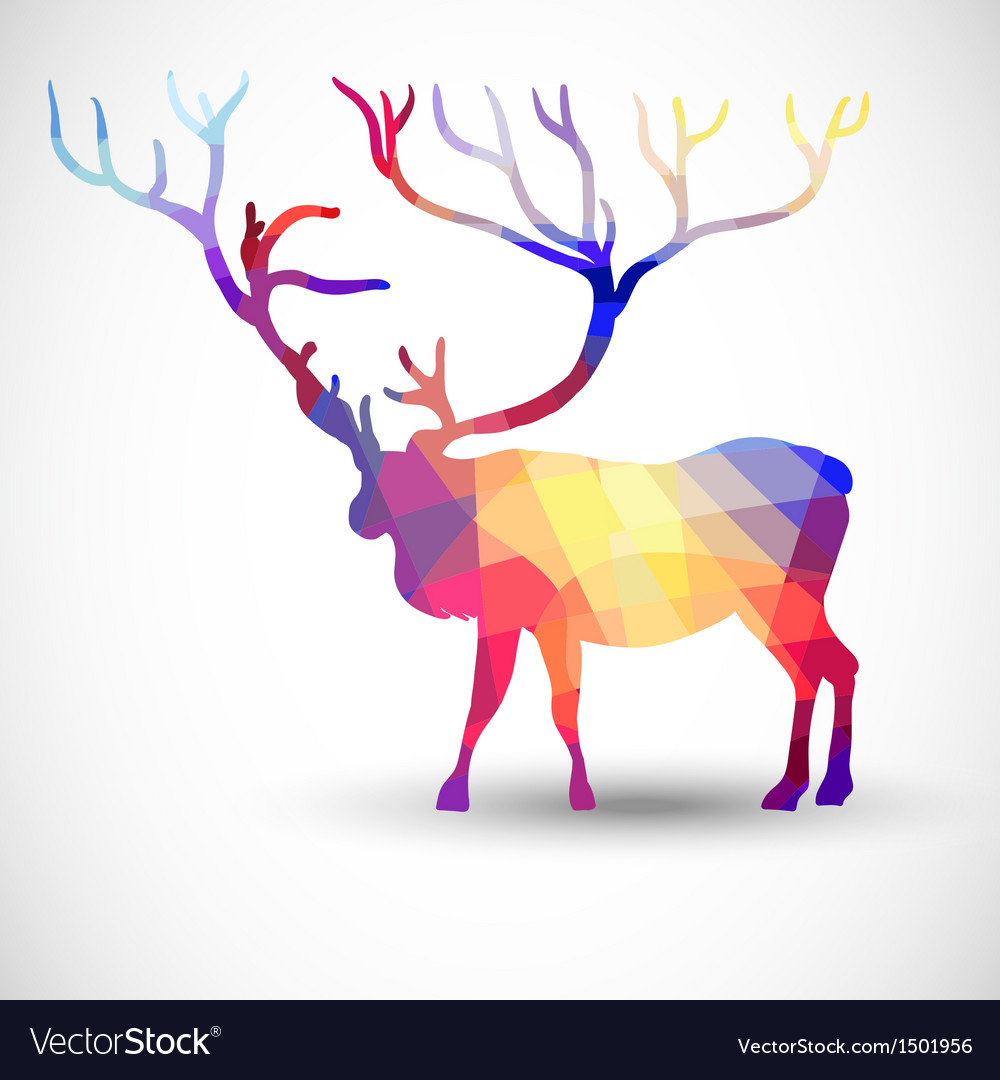 Silhouette a deer of geometric shapes vector | Price: 1 Credit (USD $1)
