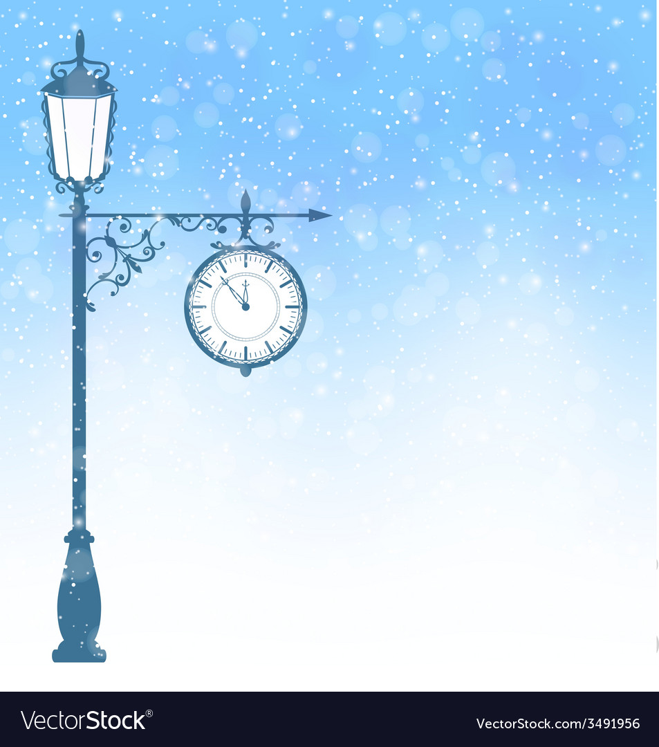 Vintage lamppost with clock in snowfall on blue vector | Price: 1 Credit (USD $1)