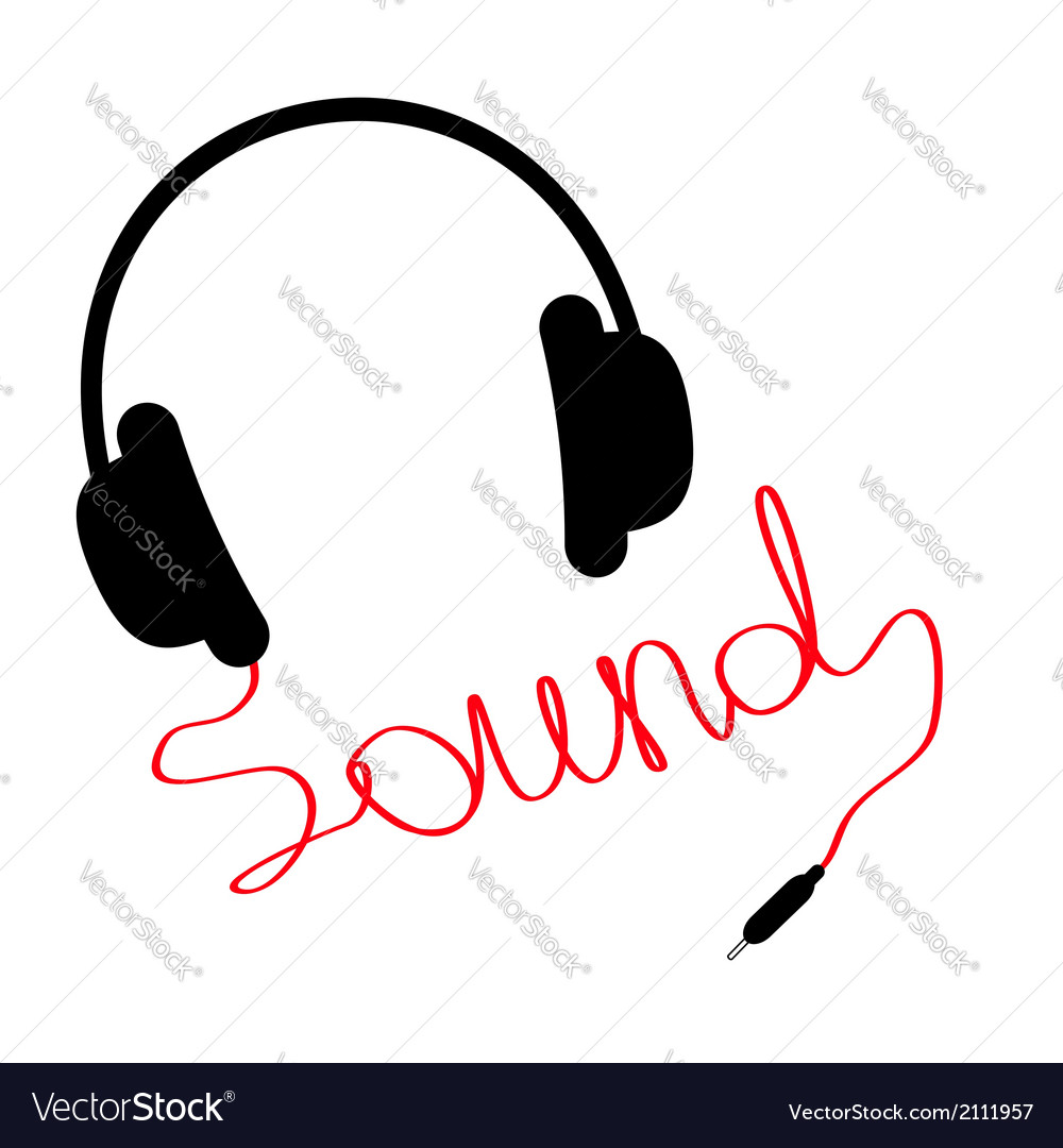 Black headphones red cord in shape of word sound vector | Price: 1 Credit (USD $1)