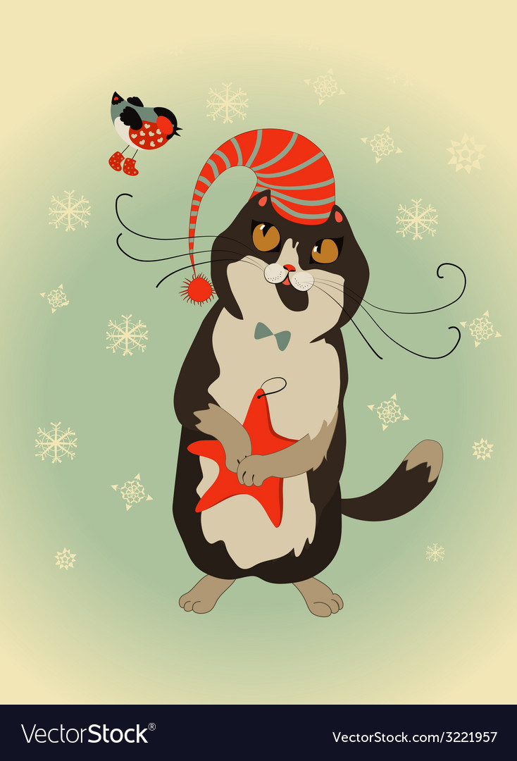 Curious cat and bullfinch celebrate christmas vector | Price: 1 Credit (USD $1)