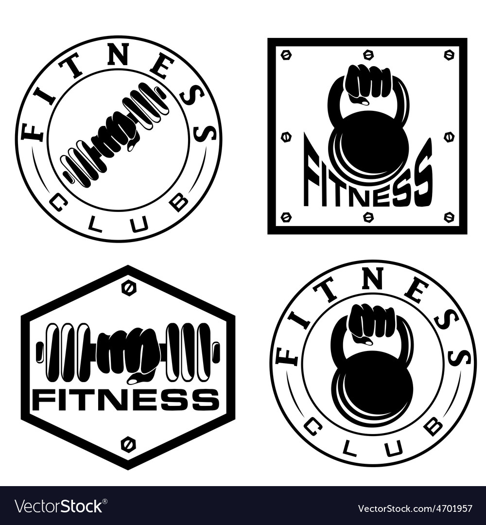 Hand holding barbell and kettlebell in emblems of vector | Price: 1 Credit (USD $1)