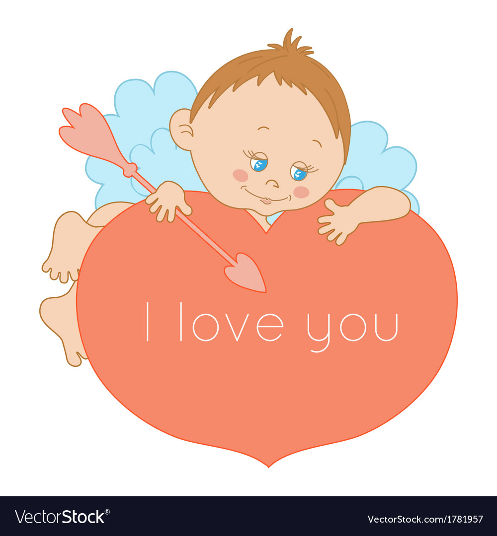 I love you card valentines day with a cute cupid vector | Price: 1 Credit (USD $1)