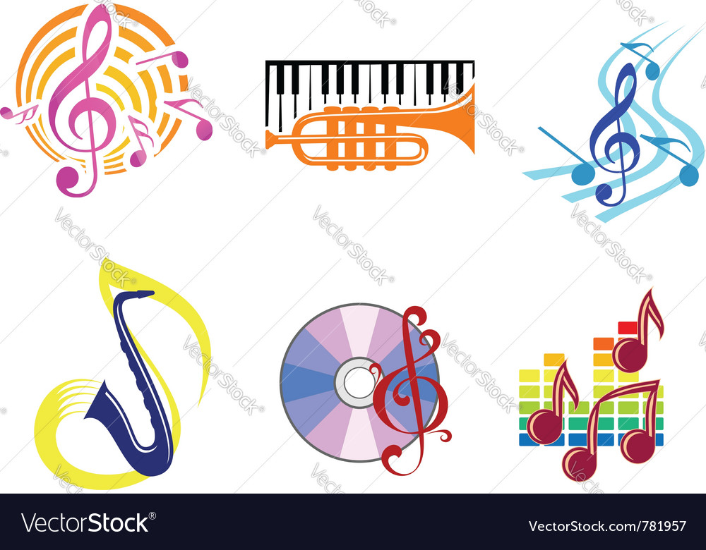 Musical symbols emblems vector | Price: 1 Credit (USD $1)