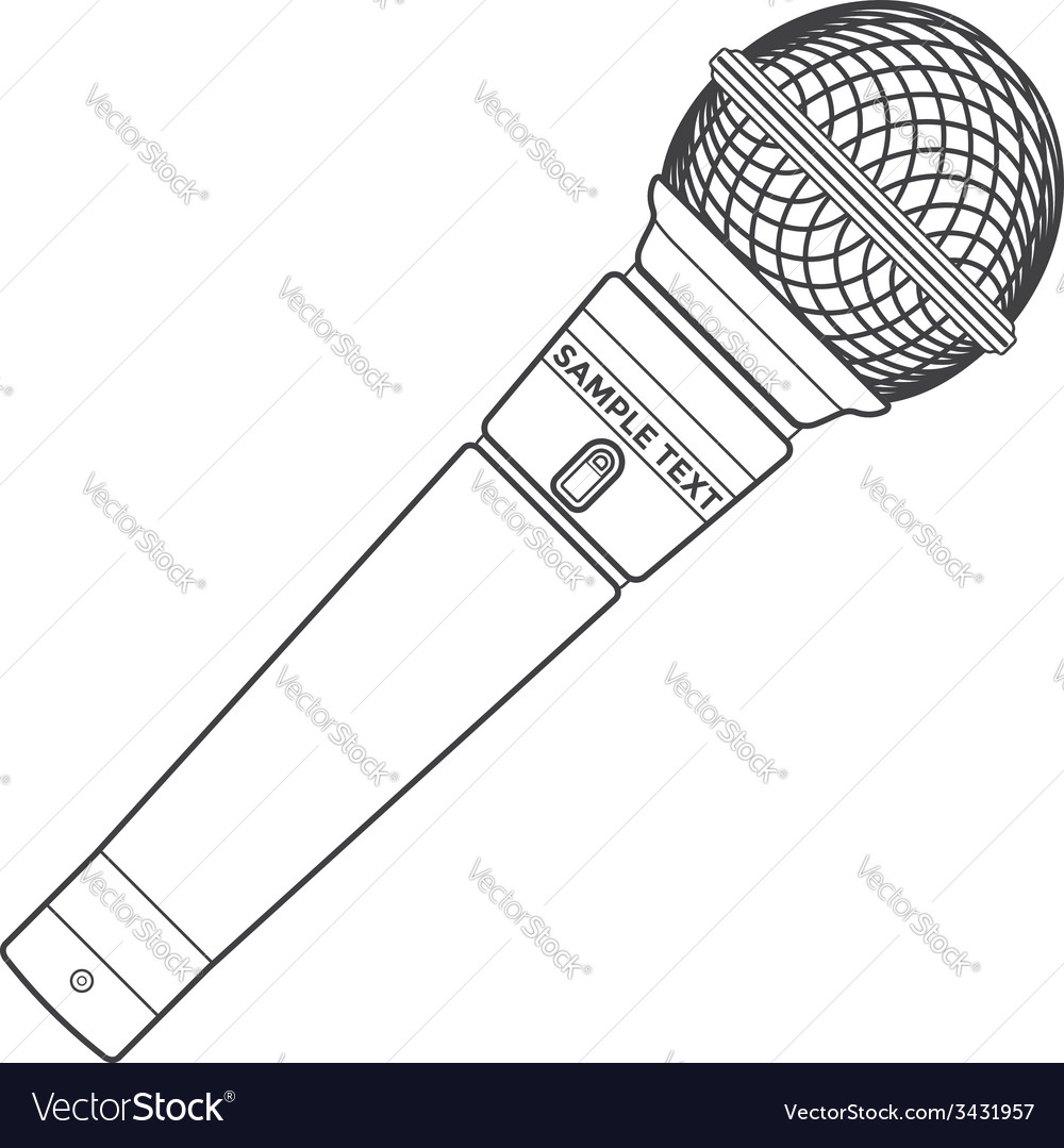 Outline stage microphone vector | Price: 1 Credit (USD $1)
