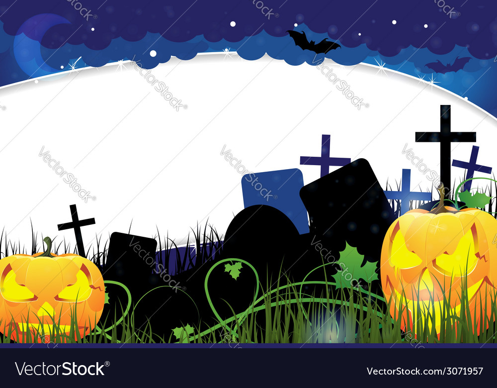 Pumpkin monsters on a cemetery vector | Price: 3 Credit (USD $3)