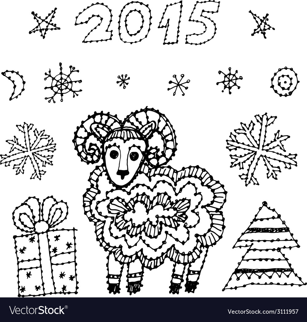 Set new year symbol 2015 sheep spruce snowflakes vector | Price: 1 Credit (USD $1)