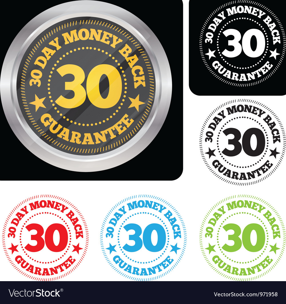 30 day money back guarantee seal set vector | Price: 1 Credit (USD $1)