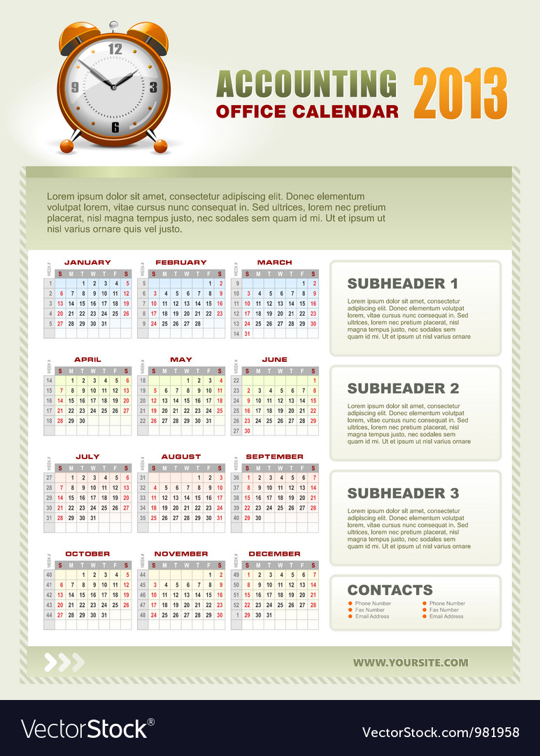 Accounting corporate calendar 2013 vector | Price: 1 Credit (USD $1)