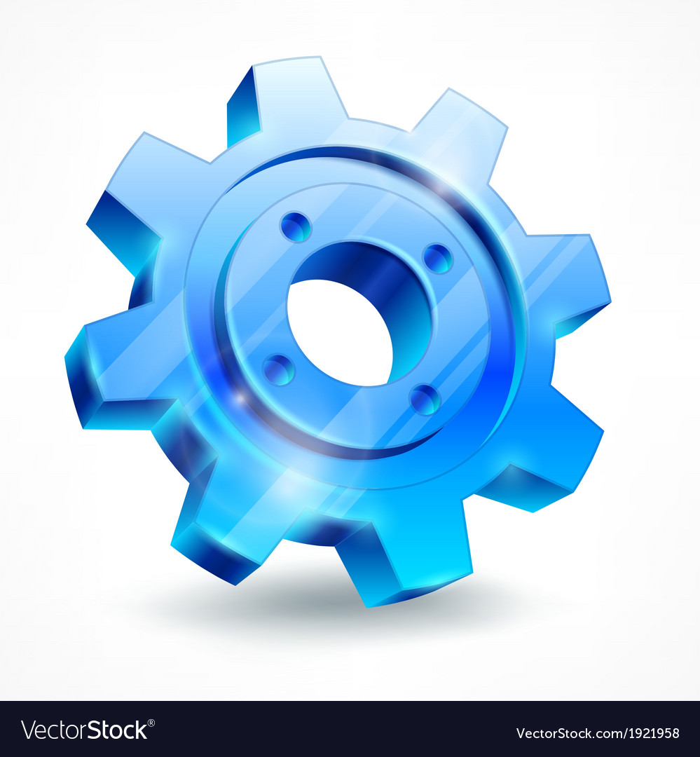 Blue gear on white vector | Price: 1 Credit (USD $1)