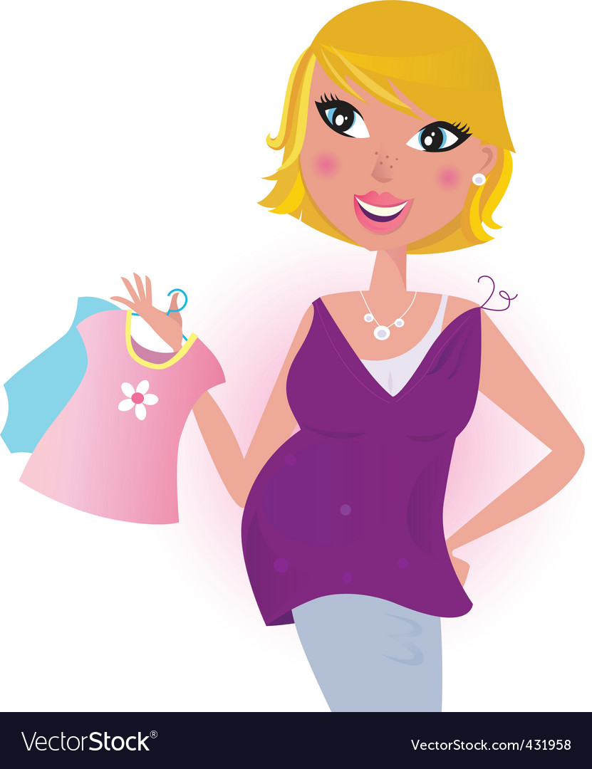 Cute blond hair mom shopping vector | Price: 1 Credit (USD $1)