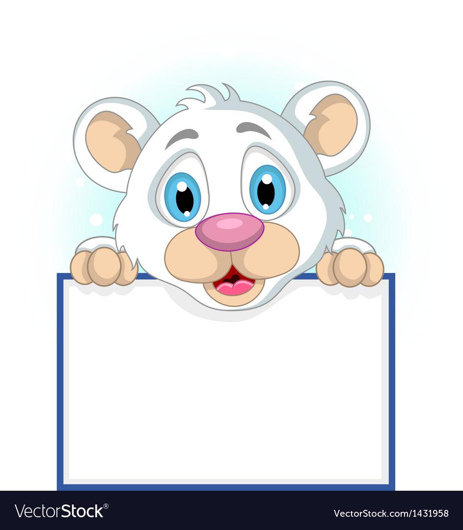 Cute little polar bear holding blank sign vector | Price: 1 Credit (USD $1)
