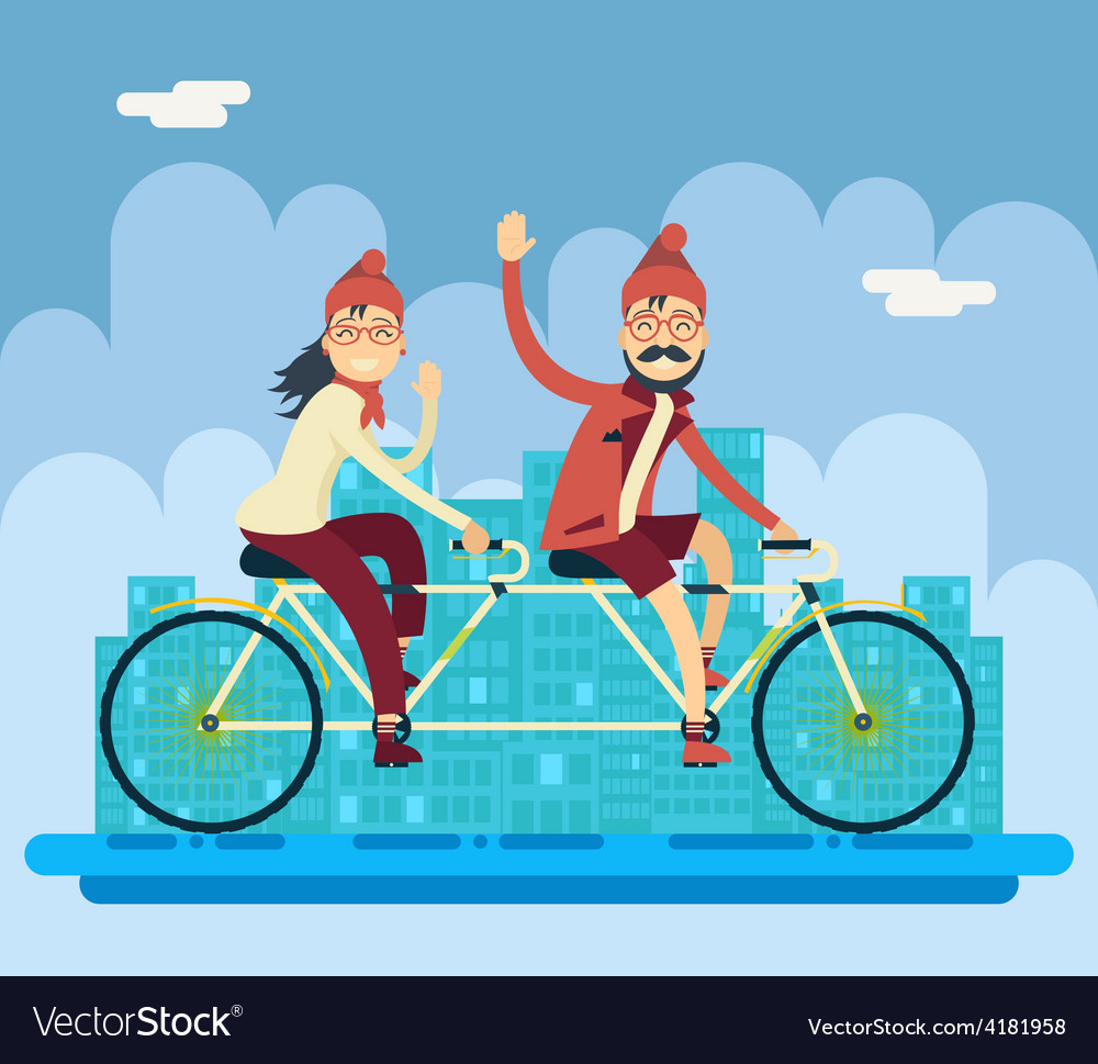 Hipster male female characters riding companion vector | Price: 1 Credit (USD $1)