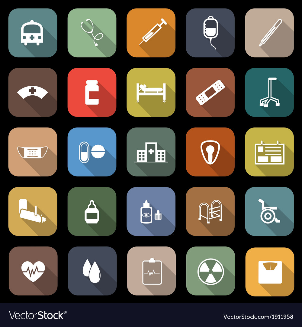 Hospital flat icons with long shadow vector | Price: 1 Credit (USD $1)