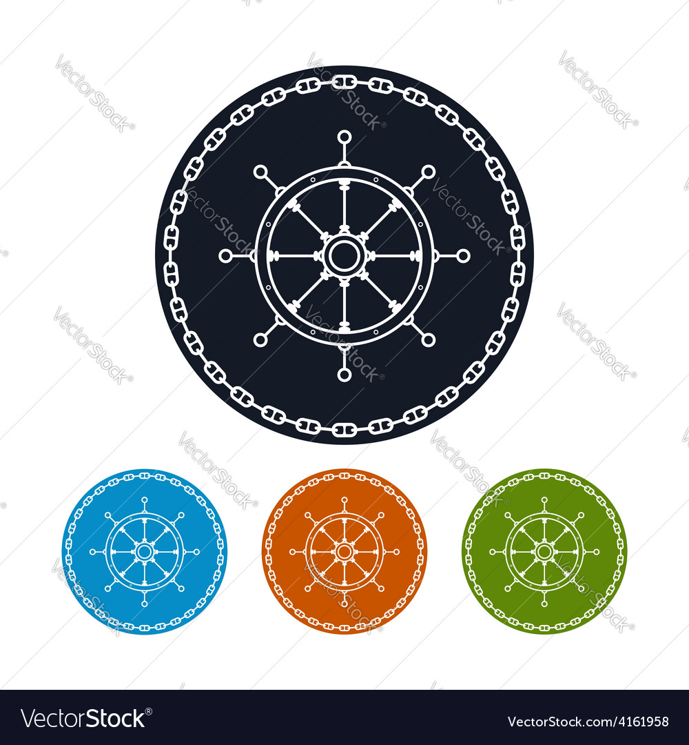 Icon ships wheel and chain vector | Price: 1 Credit (USD $1)
