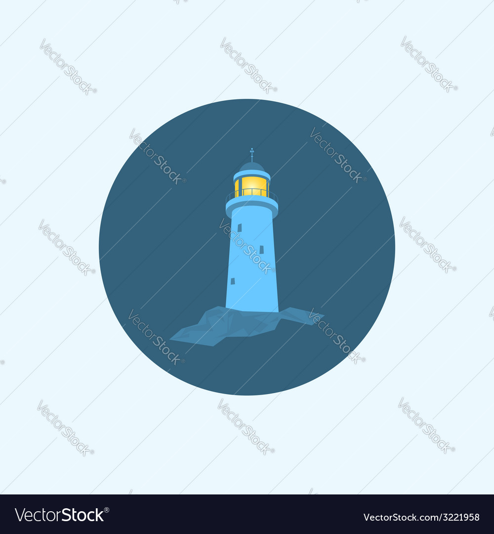 Icon with colored lighthouse vector | Price: 1 Credit (USD $1)